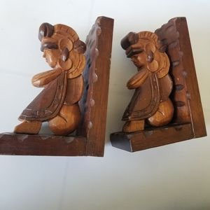 Wooden craved Mayan Indian book ends